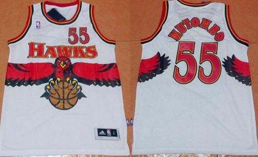Atlanta Hawks #55 Dikembe Mutombo 1990 White Hardwood Classics Soul Swingman Throwback Jersey