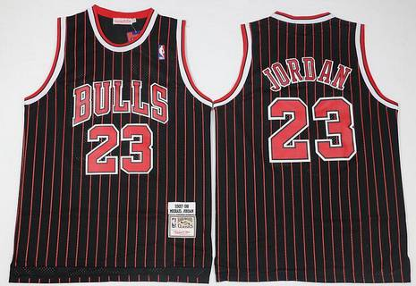 Chicago Bulls #23 Michael Jordan 1997-98 Black Pinstripe Hardwood Classics Soul Swingman Throwback Jersey