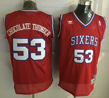 Philadelphia 76ers #53 Chocolate Thunder Nickname Red Soul Swingman Jersey