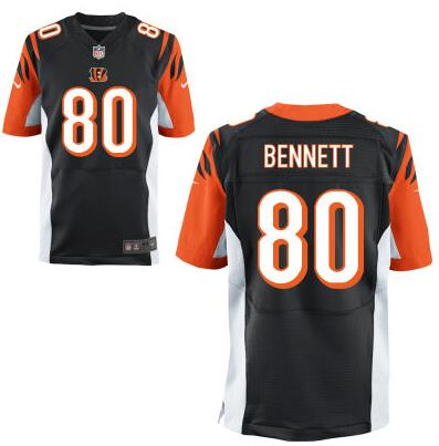 Men's Cincinnati Bengals #80 Michael Bennett Black Team Color NFL Nike Elite Jersey
