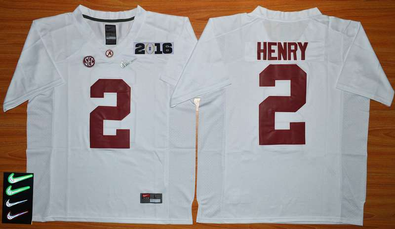 Men's Alabama Crimson Tide #2 Derrick Henry White 2016 Playoff Diamond Quest College Football Nike Limited Jersey