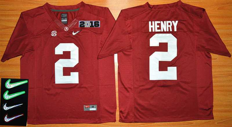 Men's Alabama Crimson Tide #2 Derrick Henry Red 2016 Playoff Diamond Quest College Football Nike Limited Jersey