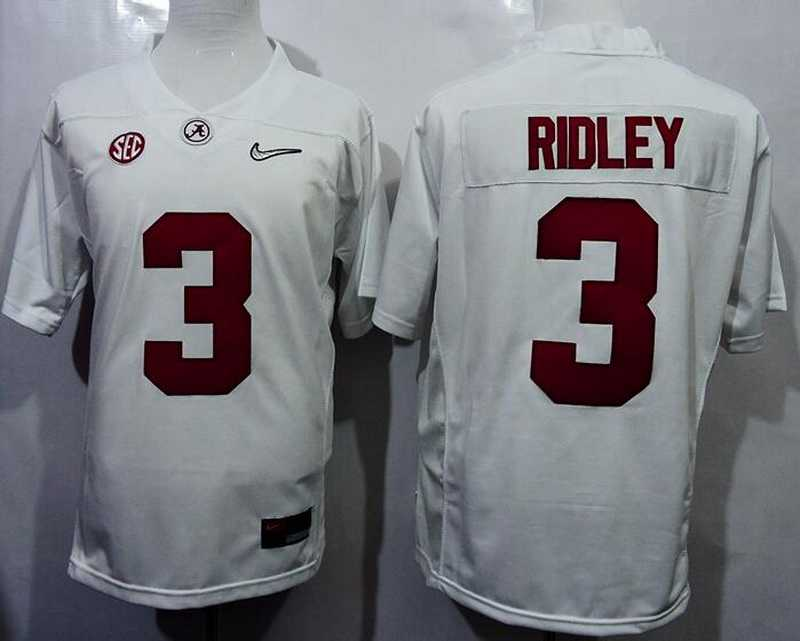 Men's Alabama Crimson Tide #3 Calvin Ridley White 2016 Playoff Diamond Quest College Football Nike Limited Jersey