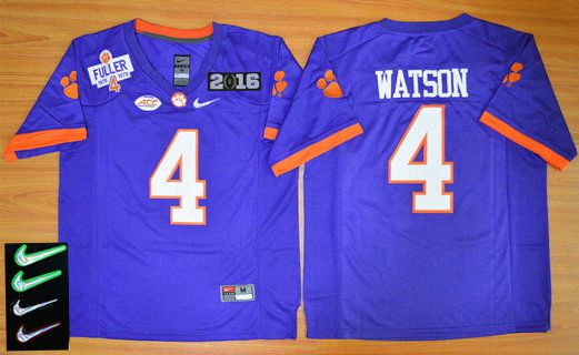 Men's Clemson Tigers #4 Deshaun Watson Purple 2016 Playoff Rose Bowl Special Event Diamond Quest Jersey