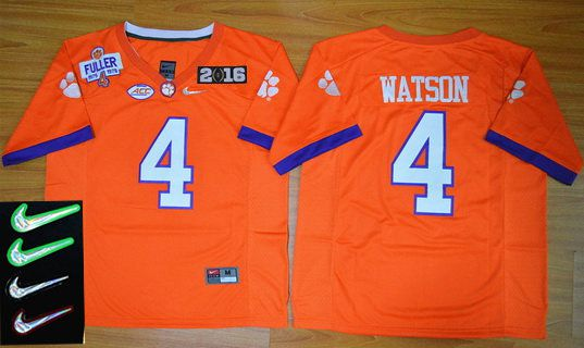 Men's Clemson Tigers #4 Deshaun Watson Orange 2016 Playoff Rose Bowl Special Event Diamond Quest Jersey