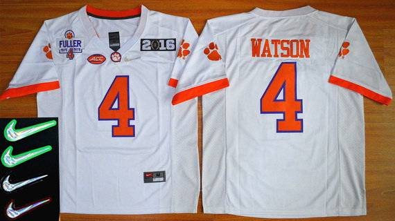 Men's Clemson Tigers #4 Deshaun Watson White 2016 Playoff Rose Bowl Special Event Diamond Quest Jersey