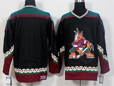 Men's Phoenix Coyotes Blank Black 1998 CCM Vintage Throwback Hockey Jersey