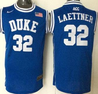 Men's Duke Blue Devils #32 Christian Laettner Blue Round Collar College Basketball Jersey