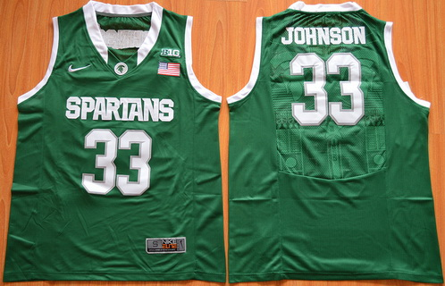 Men's Michigan State Spartans #33 Magic Johnson Green College Basketball Nike Jersey