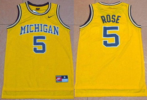 Men's Michigan Wolverines #5 Jalen Rose Yellow College Basketball Nike Swingman Jersey