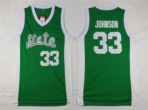 Men's Michigan State Spartans #33 Magic Johnson Green College Basketball Swingman Jersey-State