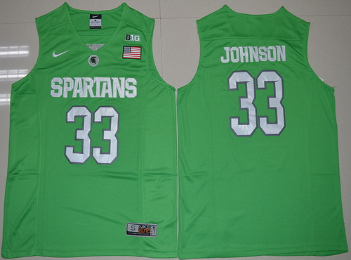 Men's Michigan State Spartans #33 Magic Johnson 2016 Apple Green College Basketball Authentic Jersey