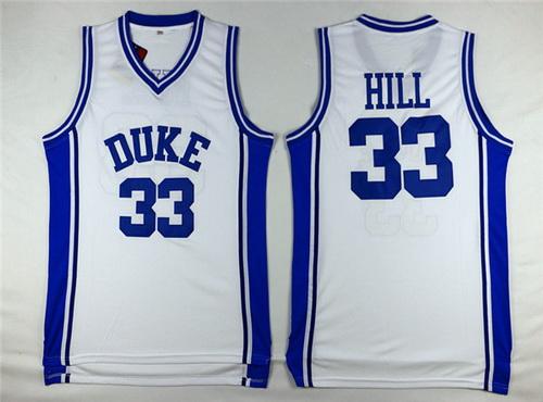 Men's Duke Blue Devils #33 Grant Hill White College Basketball Swingman Jersey