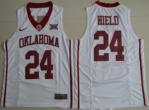 Men's Oklahoma Sooners #24 Buddy Hield White Nike College Basketball Swingman Jersey