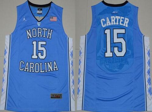 Men's North Carolina Tar Heels #15 Vince Carter 2016 Light Blue Swingman College Basketball Jersey