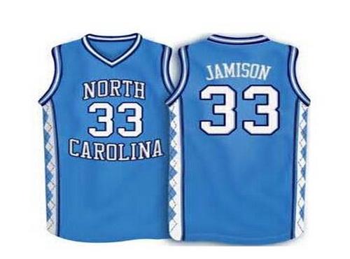 Men's North Carolina Tar Heels #33 Antawn Jamison 2016 Light Blue Swingman College Basketball Jersey