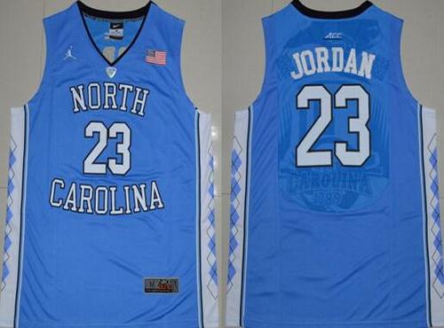 Men's North Carolina Tar Heels #23 Michael Jordan 2016 Light Blue Swingman College Basketball Jersey