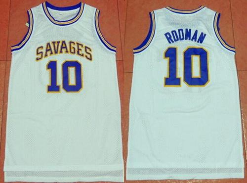 Men's Oklahoma State University #10 Dennis Rodman White College Basketball Swingman Jersey