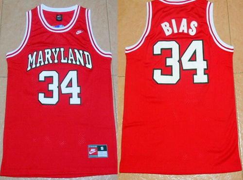 Men's University of Maryland #34 Len Bias Red College Basketball Swingman Jersey
