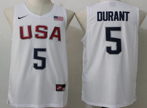 2016 Olympics Team USA Men's #5 Kevin Durant Revolution 30 Swingman White Jersey