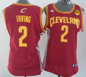 Women's Cleveland Cavaliers #2 Kyrie Irving Red 2016 The NBA Finals Patch Jersey