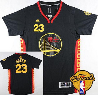 Men's Golden State Warriors #23 Draymond Green Chinese Black Fashion 2016 The NBA Finals Patch Jersey
