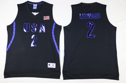 2016 Olympics Team USA Men's #2 Kawhi Leonard All Black Soul Swingman Jersey