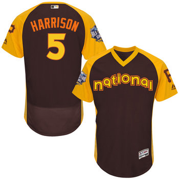 Josh Harrison Brown 2016 All-Star Jersey - Men's National League Pittsburgh Pirates #5 Flex Base Majestic MLB Collection Jersey