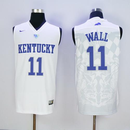 Men's Kentucky Wildcats #11 John Wall White 2016 College Basketball Swingman Jersey