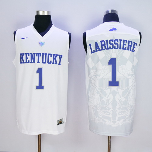 Men's Kentucky Wildcats #1 Skal Labissiere White 2016 College Basketball Swingman Jersey