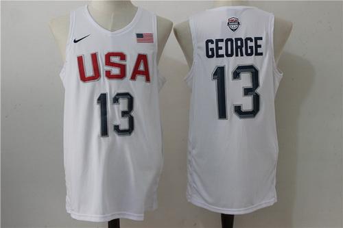 2016 Olympics Team USA Men's #13 Paul George White Revolution 30 Swingman Basketball Jersey