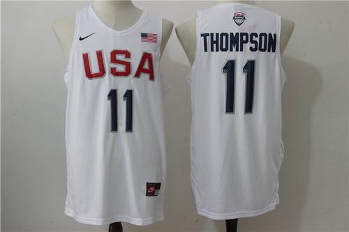 2016 Olympics Team USA Men's #11 Klay Thompson White Revolution 30 Swingman Basketball Jersey