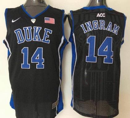 Men's Duke Blue Devils #14 Brandon Ingram Black College Basketball Nike Swingman Jersey