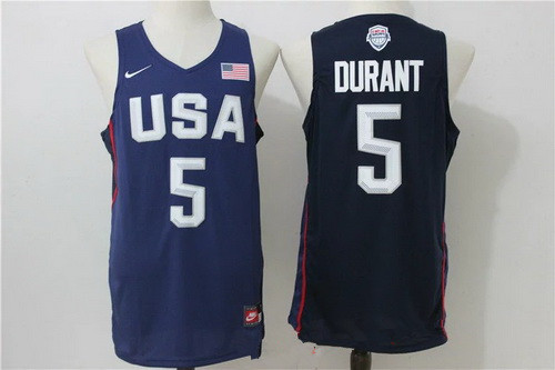 2016 Olympics Team USA Men's #5 Kevin Durant Navy Blue Revolution 30 Swingman Basketball Jersey