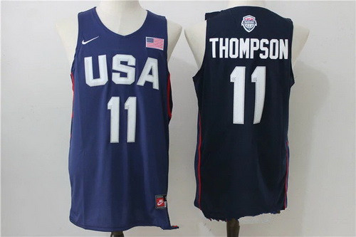 2016 Olympics Team USA Men's #11 Klay Thompson Navy Blue Revolution 30 Swingman Basketball Jersey