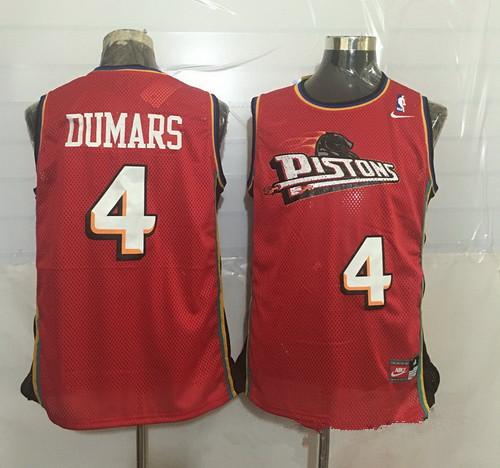 Men's Detroit Pistons #4 Joe Dumars Red Hardwood Classics Soul Swingman Throwback Jersey