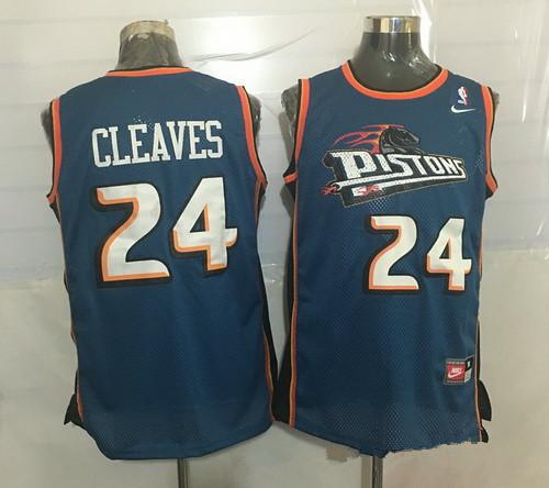 Men's Detroit Pistons #24 Mateen Cleaves Teal Blue Hardwood Classics Soul Swingman Throwback Jersey