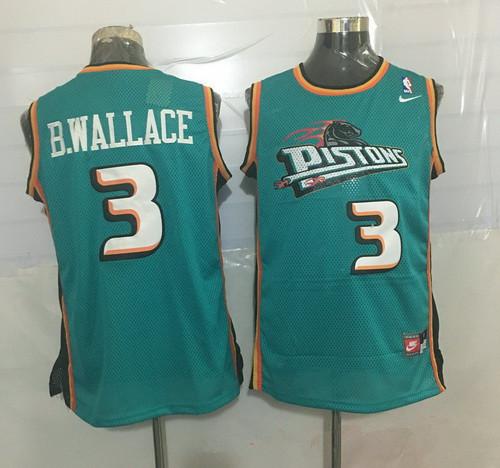 Men's Detroit Pistons #3 Ben Wallace Teal Green Hardwood Classics Soul Swingman Throwback Jersey