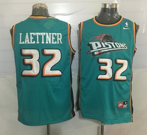 Men's Detroit Pistons #32 Christian Laettner Teal Green Hardwood Classics Soul Swingman Throwback Jersey