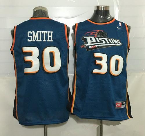 Men's Detroit Pistons #30 Joe Smith Teal Blue Hardwood Classics Soul Swingman Throwback Jersey