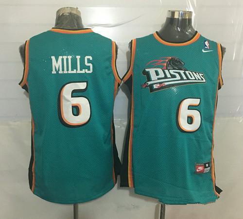 Men's Detroit Pistons #6 Terry Mills Teal Green Hardwood Classics Soul Swingman Throwback Jersey