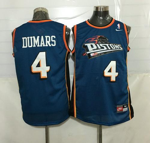 Men's Detroit Pistons #4 Joe Dumars Teal Blue Hardwood Classics Soul Swingman Throwback Jersey