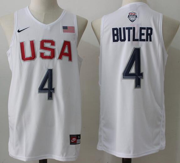 2016 Olympics Team USA Men's #4 Jimmy Butler White Stitched NBA Nike Swingman Jersey