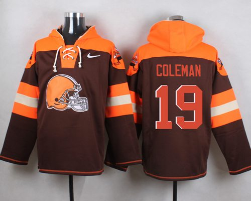 Nike Browns #19 Corey Coleman Brown Player Pullover NFL Hoodie