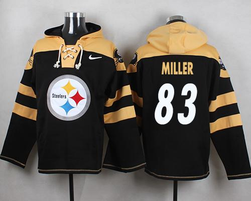 Nike Steelers #83 Heath Miller Black Player Pullover NFL Hoodie