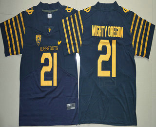 Men's Oregon Ducks Spring Game #21 Mighty Oregon Weebfoot 100th Rose Bowl Game Navy Blue Elite Jersey