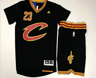 Men's Cleveland Cavaliers #23 LeBron James Revolution 30 Swingman 2015-16 New Black Short-Sleeved Jersey(With-Shorts)