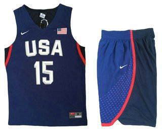 2016 Olympics Team USA Men's #15 Carmelo Anthony Navy Blue Revolution 30 Swingman Basketball Jersey With Shorts