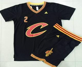 Men's Cleveland Cavaliers #2 Kyrie Irving Revolution 30 Swingman 2015-16 New Black Short-Sleeved Jersey(With-Shorts)