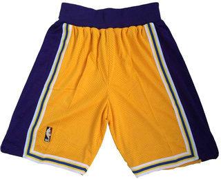 Men's Los Angeles Lakers Yellow Hardwood Classics Soul Swingman Throwback Shorts